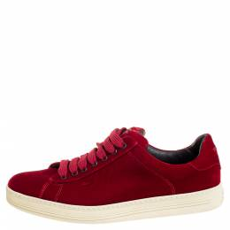 Tom Ford Red Velvet Russell Low Top Sneakers Size 41 354460