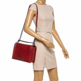 Chanel Red Quilted Leather Large Boy Flap Bag 354904