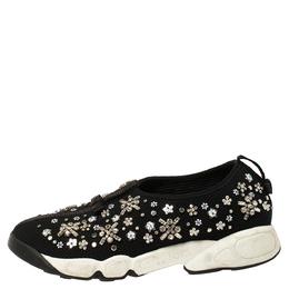 Dior Black Mesh Fusion Crystal Embellished Slip On Sneakers Size 37 354561