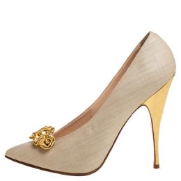 Christian Louboutin Beige Coated Raffia Gold Lola Flores Pumps Size 39 355007