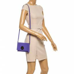 Kate Spade Purple Leather Astor Court Flap Crossbody Bag 354857