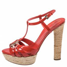 Christian Dior Red Patent Leather CD2 T Strap Espadrilles Sandals Size 38 352622