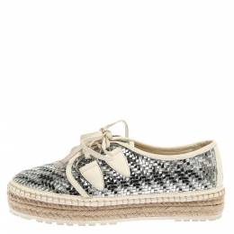 Dior Metallic Silver/White Leather Espadrille Lace Up Sneakers Size 37 355266