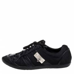 Dior Black Canvas And Leather Trim Low Top Sneakers Size 37 355259