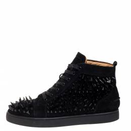 Christian Louboutin Black Suede Multi Level Spiked Pik Pik Louis High Top Sneakers Size 43 355422