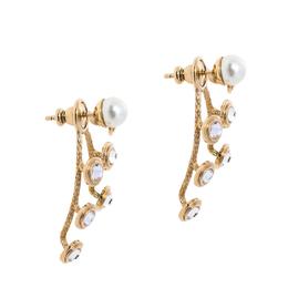 Dior Mise En Dior Faux Pearl Crystal Gold Tone Earrings 354957