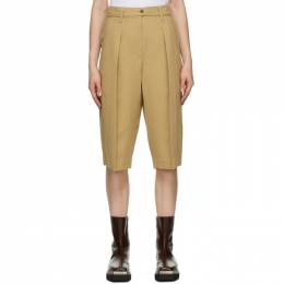 System Beige Belted Pleated Shorts SY2A8-WPCT01W