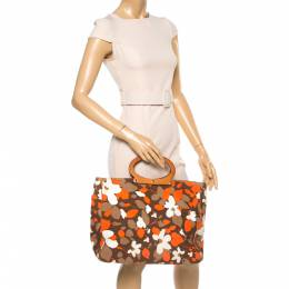 Kate Spade Multicolor Floral Canvas Ring Handle Tote 354688