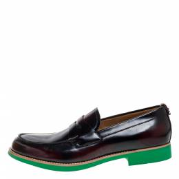 Burberry Two Tone Leather Emile Penny Slip On Loafers Size 45 355646