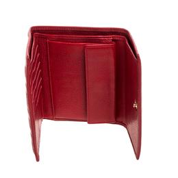 Carolina Herrera Red Monogram Embossed Leather Trifold Wallet 355800