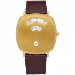 Gucci Gold and Brown Grip Watch YA157411