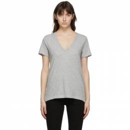 Rag&Bone Grey The Slub V-Neck T-Shirt W272C34CH