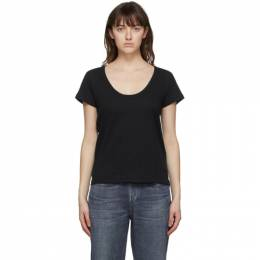 Rag&Bone Black The Slub U-Neck T-Shirt W284C38CH