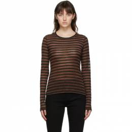 Rag&Bone Brown Metallic Stripe Long Sleeve T-Shirt WCC20HT108PF08