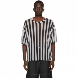 Sunnei Black and White Striped Over T-Shirt MH02ACTE654R05