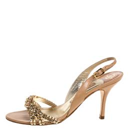 Gina Beige Leather Crystal Embellished Naomi Slingback Sandals Size 37.5 356042