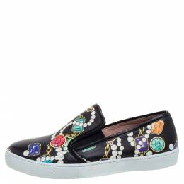 Boutique Moschino Black Crystal Printed Leather Slip-on Sneakers Size 37 355988