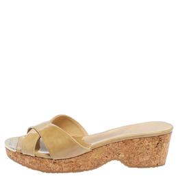 Jimmy Choo Beige Patent Leather Perfume Cork Wedge Platform Slide Sandals Size 38 355995