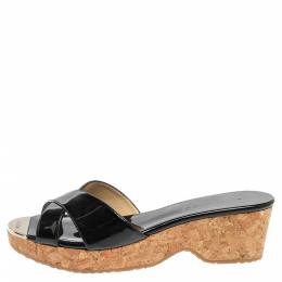 Jimmy Choo Black Patent Leather Perfume Cork Wedge Platform Slide Sandals Size 38 355998