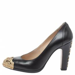 Chanel Blue Leather CC Heel Pumps Size