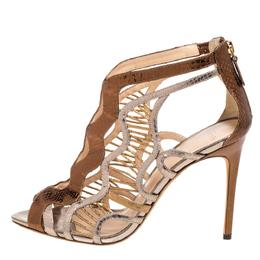 Alexandre Birman Multicolor Python Embossed Leather Caged Zipper Sandals Size 40 355969