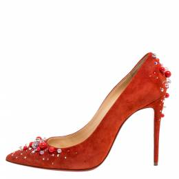 Christian Louboutin Orange Suede Leather Pearl Embellished Pop Pointed Toe Pumps Size 39 355615
