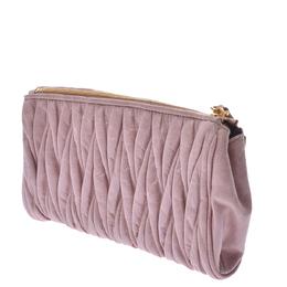 Miu Miu Pink Matelasse Leather Clutch Bag 337149