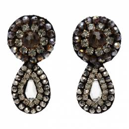Erdem Grey Crystal Beaded Drop Earrings AW20_1351GCSPR