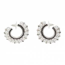 Erdem Silver Cluster Hoop Earrings AW20_1331BCWPPR