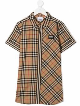 Burberry Kids рубашка в клетку с короткими рукавами 8030099