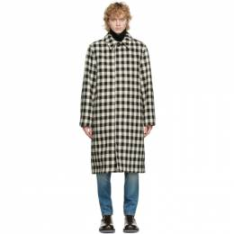 Ami Alexandre Mattiussi Black and White Wool Mac Coat H20HOW109.218