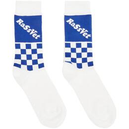 Rassvet White and Blue Check Logo Sport Socks PACC7K009