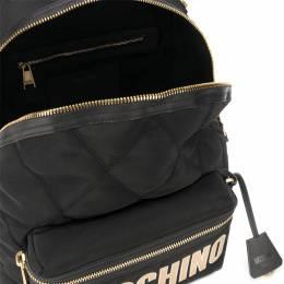 Moschino Black Quilted Nylon Neoprene Logo Backpack 339513