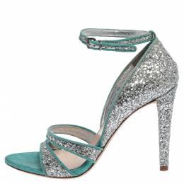 Miu Miu Silver/Blue Coarse Glitter And Suede Trims Open Toe Ankle Strap Sandals Size 38 356352