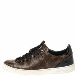 Louis Vuitton Brown/Black Monogram Canvas and Patent Leather Frontrow Low Top Sneakers Size 40 356489