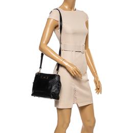 DKNY Black Leather Double Zip Shoulder Bag 351632