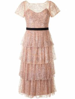 Marchesa Notte ярусное платье с блестками N41M1987