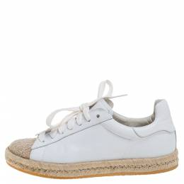 Alexander Wang White Leather And Jute Cap Toe Espadrilles Low Top Sneakers Size 37 356842