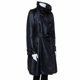 Armani Collezioni Metallic Black Wool Belted Trench Coat M 356536