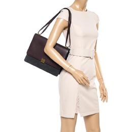 Celine Dark Burgundy/Grey Leather And Suede Medium Case Shoulder Bag 356408
