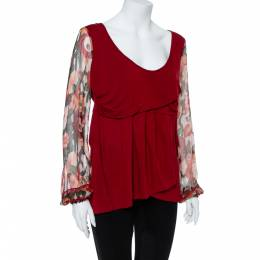Kenzo Burgundy Cotton Blend Floral Print Long Sleeve Blouse L 356577