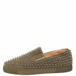 Christian Louboutin Khaki Green Suede Roller Boat Spiked Slip On Sneakers Size 45 356973