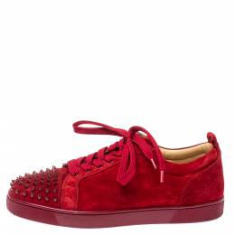 Christian Louboutin Red Suede Louis Junior Spikes Sneakers Size 45 356977