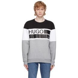 Hugo Grey and Black Fleece Crewneck Sweatshirt 50439021