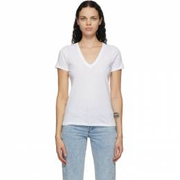 Rag&Bone White The Slub V-Neck T-Shirt W272C34CH
