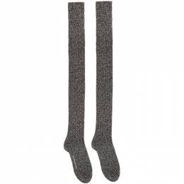 Takahiromiyashita The Soloist Black and White Wool High Socks sa.0070AW20
