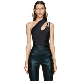 Mugler Black Single Shoulder Bodysuit 21S1BO0127840