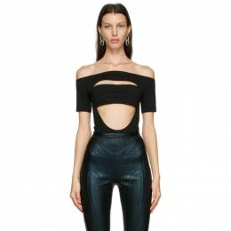 Mugler Black Off Shoulder Segmented Bodysuit 21S1BO0134680