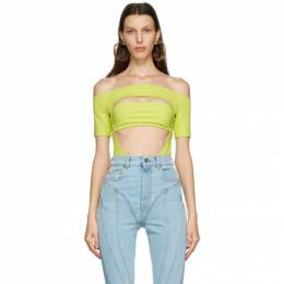 Mugler Green Off Shoulder Segmented Bodysuit 21S1BO0134680