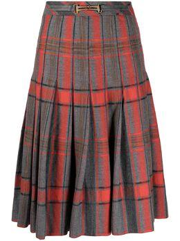 Celine Pre-Owned клетчатая юбка со складками 130792